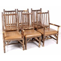 La Lune Rustic Hickory and Leather Chairs