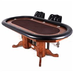 Large Padded Oak Poker Table & Chairs