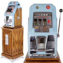 1940's Mills High Top 25¢ Slot Machine & Oak Stand