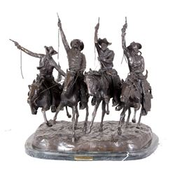 "Frederic Remington Bronze ""Coming Through the Rye"""