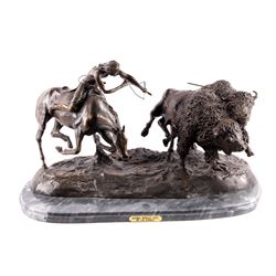 "Charles M. Russell ""Double Buffalo Hunt"" Bronze"