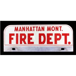 Manhattan Montana Fire Dept. License Plate Topper