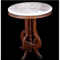 White Marble Top Parlor Table