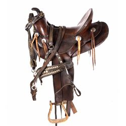 Western Brass Tacked & Silver Saddle & Bridle