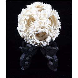 Carved Vegetable Ivory Puzzle Ball w/ Stand