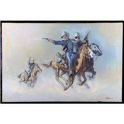 Original Cavalrymen Oil on Canvas Painting