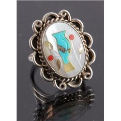 Zuni Sterling Silver Inlaid Mosaic Turquoise Ring