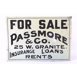 Butte Montana Passmore & Co. Tin Sign