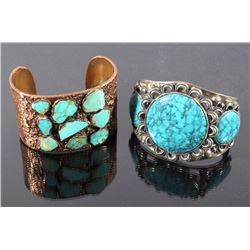 Navajo Marked Copper & Turquoise Bracelets