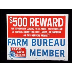 Early Kansas Farm Bureau Member Reward Sign