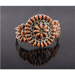 Navajo Petit Point Sterling Silver &Agate Bracelet