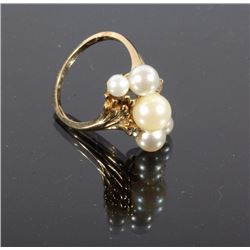 Pearl Cluster & Diamond Gold Ring