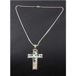 Signed Zuni Inlaid Sterling Silver Cross