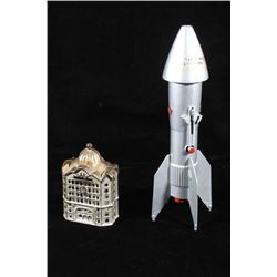 Early Astro Mfg. Rocket & Cast Iron Coin Banks