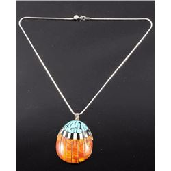Signed Zuni Inlaid Gems & Silver Pendent