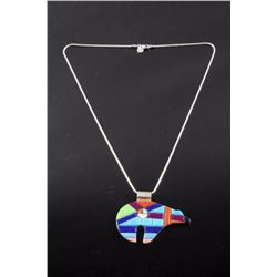 Zuni Inlaid Sterling Silver Bear Effigy Necklace