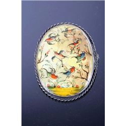 Sterling Silver & Mother Of Pearl Painted Brooch