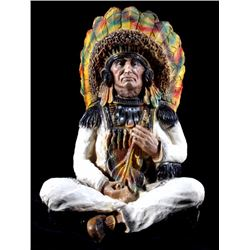 Hand Painted Ceramic Sitting Indian Chief Statue
