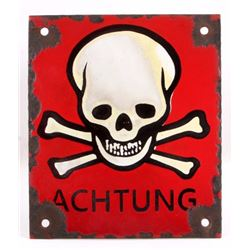 German Achtung Skull Crossed Bones Sign (Nazi)