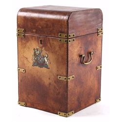 Leather & Brass Four Bottle Liquor Decanter Box