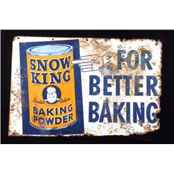 Snow King Baking Powder Metal Advertisement Sign