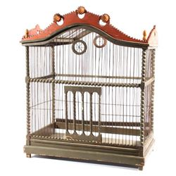 Large Orient Wood & Wire Ornate Bird Cage