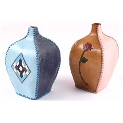 Montana Handmade Pair Of Leather Vases
