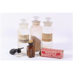 Early Drugstore Medicine Bottles & Applicator