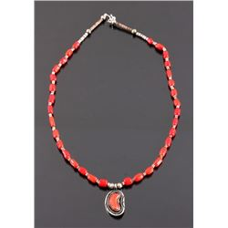 Navajo Sterling Silver and Coral Necklace