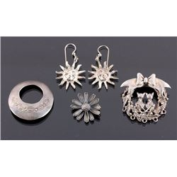 Sterling Silver Earring and Brooch Collection