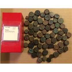 MUGHAL: LOT of 64 copper coins