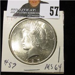 1925 P Peace Dollar MS 64