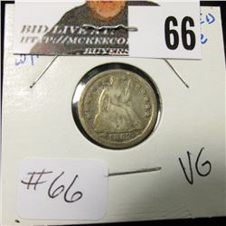 1853 w/arrows Seated Dime  VG