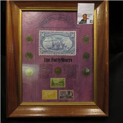 "The FortyNiners wall hanger - includes 7 ""V"" nickels, also 3 older 3 cent centennial stamps for CA &"