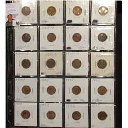 Sheet of 20 Lincoln Cents Ag-Vg, (4) each 1920, 20-D, 20-S, 21, 23