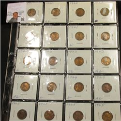 Sheet of 20 Lincoln Cents Ag-Vg, 4 each 1920, 1921, 1923, 1924, 1925