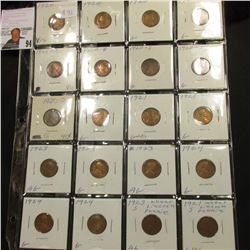 Sheet of 20 Lincoln Cents Ag-Vg, 3 each 1920, 20-D, 20-S, 21, 23, 24, also 1 23-S, 1 21-S