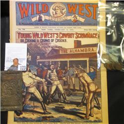 "Linotype Printing plate for ""Christmas Seals""; 1918 ""Wild West Weekly"" Comic/magazine; & (10) Fine-V"