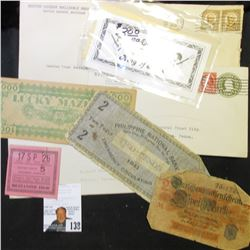 Three envelopes which used to hold Depression Scrip, 'Doc' has noted in pencil on each envelope that