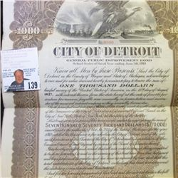 "1918 ""City of Detroit General Public Improvement $1000 Bond""; fantastic Eagle vignette with train in"