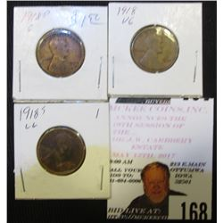 1918 P, D, & S Lincoln Cents, G-VG.