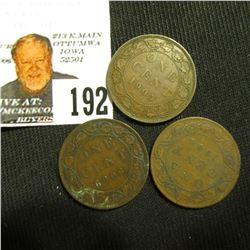 1905, 06, & 08 Canada Large Cents.