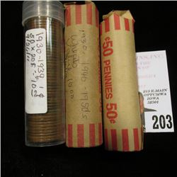 (3) Mixed Date Wheat Cent Rolls.