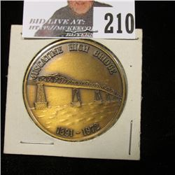 1891-1972 Muscatine High Bridge Medal, 39mm, Brass, BU.
