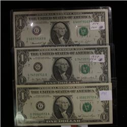 Series 1974, Series 1977, & Series 1981 Gem CU $1 Federal Reserve Notes.
