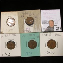 1910P, 11P, 12P, 13P, & 14P Lincoln Cents in G-VF.