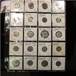20-Pocket Plastic Page full of Thailand Uncirculated Coins dating back to 1937. Includes 1 Satang, 5