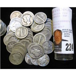 (50) Mixed Date Circulated Mercury Dimes in a plastic tube. Circulated.