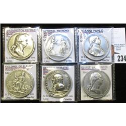 "(6) Different ""America's First Mint Medals"" struck in high relief Pewter, Gem BU and all attributed."