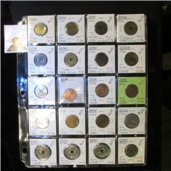 20-Pocket Plastic Page with (20) Japanese Coins, includes One Yen, 5 Yen, 10 Yen, & 50 Yen coins. Ma